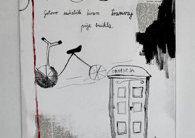 Duje Kodžoman, Bicikl, 50x60cm, kombinirana tehnika