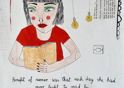 Duje Kodžoman, Summer Reading, 24x30 cm, kombinirana tehnika